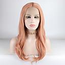 halpa Synteettiset peruukit verkolla-Synteettiset pitsireunan peruukit Kihara Tyyli Keskiosa Lace Front Peruukki Vaaleanpunainen Pinkki Synteettiset hiukset 18-26 inch Naisten Säädettävä / Pitsi / Heat Resistant Vaaleanpunainen Peruukki