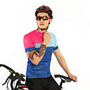 cheap Cycling Jerseys-FirtySnow Men's Short Sleeve Cycling Jersey Blue+Pink Stripes Bike Jersey Top Breathable Moisture Wicking Quick Dry Sports Polyester Mountain Bike MTB Road Bike Cycling Clothing Apparel / Stretchy