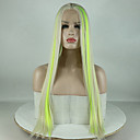 cheap Synthetic Lace Wigs-Synthetic Lace Front Wig Straight Minaj Style Middle Part Lace Front Wig Green Green Synthetic Hair 18-26 inch Women's Adjustable / Lace / Heat Resistant Green Wig Long 180% Density
