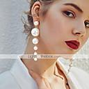 hesapli Moda Küpeler-Kadın's Damla Küpeler Uzun Suda Yatma Şık Zarif İmitasyon İnci Küpeler Mücevher Bej / Beyaz Uyumluluk Hediye Seramoni Festival 1 çift