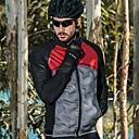 abordables Vestes de cyclisme-SANTIC Homme Veste Vélo Cyclisme Vélo Veste Coupe Vent Respirable Des sports Couleur Pleine Elasthanne Hiver Noir / Rouge VTT Vélo tout terrain Vélo Route Vêtement Tenue Tenues de Cyclisme