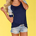 cheap Wallets-Women's T-shirt - Solid Colored Lace Blue L / Spring / Summer / Fall