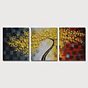 זול הדפסים-ציור שמן צבוע-Hang מצויר ביד - פרחוני / בוטני מודרני כלול מסגרת פנימית / שלושה פנלים