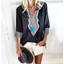 お買い得  人工毛キャップレスウィッグ-女性用 プリント プラスサイズ Tシャツ Vネック 幾何学模様 グリーン XXXL