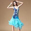 preiswerte Kleidung für Lateinamerikanischen Tanz-Latein-Tanz Kleider Damen Training / Leistung Polyester Applikationen / Horizontal gerüscht Ärmellos Normal Kleid