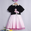 cheap Women-Toddler Girls' Sweet / Street chic Daily / Going out Solid Colored Mesh Short Sleeve Above Knee Cotton / Spandex Dress Pink