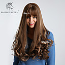 cheap Synthetic Capless Wigs-Synthetic Wig Bouncy Curl / Loose Wave Style With Bangs Capless Wig Dark Brown Brown Synthetic Hair 30 inch Women's Synthetic / Best Quality / Ombre Hair Dark Brown Wig Very Long BLONDE UNICORN / Yes