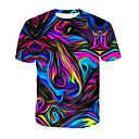 preiswerte Glühlampen-Herrn 3D / Regenbogen Baumwolle T-shirt, Rundhalsausschnitt Druck Regenbogen XXXL / Sommer