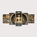 hesapli Tablolar-Boyama Haddelenmiş Kanvas Tablolar Gerdirilmiş Tuval Resimleri - Natürmort Din & Maneviyat Modern Beş Panelli Sanatsal Baskılar