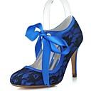 baratos Sapatos de Noiva-Mulheres Renda Primavera Verão Vintage Sapatos De Casamento Salto Agulha Ponta Redonda Cadarço de Borracha Branco / Azul / Rosa claro / Festas & Noite