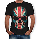 preiswerte Hülse Tätowierung-Herrn 3D / Totenkopf Motiv Baumwolle T-shirt, Rundhalsausschnitt Druck Schwarz XL