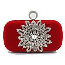 povoljno Clutch i večernje torbice-Žene Kristalni detalji Velvet Clutch torbica Kristalne vrećice od kristalnog kamena Cvijetni print Crn / Red / Jesen zima