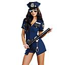 billige Sexede Uniformer-Politi Voksne Dame Festkostume Til Ydeevne Polyester Patchwork Trikot / Heldragtskostumer Bælte Hat Halloween Karneval Maskerade