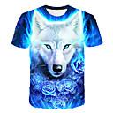 cheap 3D Puzzles-Men's Daily Club Basic / Street chic T-shirt - 3D / Animal Wolf, Print Round Neck Blue XXXL / Short Sleeve
