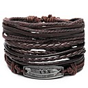 cheap Men's Bracelets-4pcs Men's Retro Rope Plaited Wrap Leather Bracelet Feather Unique Design Hip-Hop Bracelet Jewelry Brown For Gift Daily
