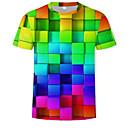 abordables Projecteurs-Tee-shirt Homme, Géométrique / 3D Imprimé Col Arrondi Arc-en-ciel US42 / Manches Courtes