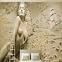 halpa Tapetit-tapetti / Seinämaalaus / Seinäliina Kangas Seinäpinnat - liima tarvitaan Puut / lehdet / Art Deco / 3D