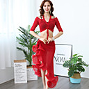 cheap Belly Dancewear-Belly Dance Outfits Women's Training Nylon Ruching / Split Joint / Bandage Half Sleeve Dropped Skirts / Top