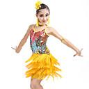 preiswerte Ballettbekleidung-Latein-Tanz / Tanzkleidung für Kinder Austattungen Mädchen Training / Leistung Nylon / Pailletten Quaste / Pailetten Ärmellos Haarschmuck / 1 Paar Ohrringe / Kleid