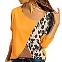 זול שרשראות-קולור בלוק צווארון V רזה חולצה - בגדי ריקוד נשים פול