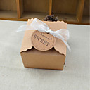 billige Gaveesker-Kube Pergament Papir Gaveholder med Skerfer / Bånd Gavebokse - 100stk