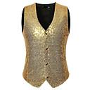 cheap Historical & Vintage Costumes-Men's Vest, Solid Colored V Neck Cotton / Polyester Silver / Wine / Royal Blue L / XL / XXL