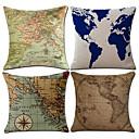 cheap Pillow Covers-4 pcs Cotton / Linen Pillow Case, Nautical Map Classic Antique European Style