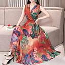 abordables Flotteurs-Femme Sexy Midi Mince Mousseline de Soie Balançoire Robe - Plissé, Fleur Col en V Vert Rouge Violet XL XXL XXXL Sans Manches / Vacances / Plage