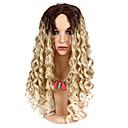 Χαμηλού Κόστους Συνθετικές περούκες χωρίς σκουφί-Συνθετικές Περούκες Φυσικό Κυματιστό Στυλ Ελεύθερο μέρος Χωρίς κάλυμμα Περούκα Ombre Μεσαίο Καφέ / Λευκό Ξανθό Συνθετικά μαλλιά 24 inch Γυναικεία Κλασσικό / Εύκολο στη μεταφορά / συνθετικός Ombre