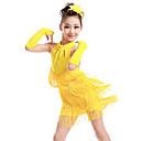 abordables Tenues de Danse Enfant-Danse latine / Tenues de Danse pour Enfants Robes Fille Entraînement / Utilisation Polyester Gland / Cristaux / Stras Sans Manches Robe / Gants