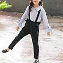 abordables Chaussures pour Fille-Enfants Fille Actif / Chic de Rue Quotidien / Sortie Rayé A Volants Manches Longues Normal Rayonne Ensemble de Vêtements Bleu