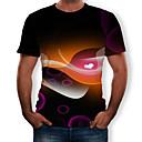 preiswerte Herrenhalbschuhe-Herrn 3D T-shirt, Rundhalsausschnitt Druck Schwarz XL