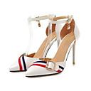 זול נעלי עקב לנשים-בגדי ריקוד נשים PU קיץ עקבים עקב סטילטו בוהן מחודדת לבן / שחור / ורוד