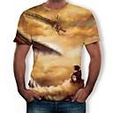 cheap Men's Sneakers-Men's Plus Size Cotton T-shirt - 3D / Animal Print Round Neck Gold XXXL