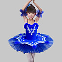 billige Dansetøj til børn-Dansetøj til børn / Ballet Kjoler Pige Træning / Ydeevne Polyester / Net Fjer / pels / Kombination / Krystal / Rhinsten Uden ærmer Kjole