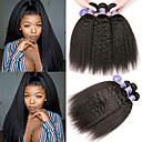 halpa Aitohiusperuukit-6 pakettia Brasilialainen Yaki Straight Käsittelemätön aitoa hiusta 100% Remy Hair Weave -paketit Hiukset kutoo Bundle Hair Yksi pakkaus ratkaisu 8-28 inch Luonnollinen väri Hiukset kutoo Muodikas