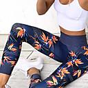 abordables Vêtements de Fitness, de Course et de Yoga-Femme Pantalon de yoga Bleu Des sports Floral / Botanique Elasthanne Collants Leggings Danse Course / Running Fitness Tenues de Sport Respirable Evacuation de l'humidité Séchage rapide Butt Lift