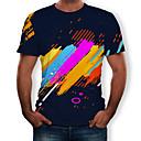 billige TV-bokse-Rund hals Herre - Stribet / Farveblok / 3D Trykt mønster T-shirt Sort XL