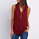 abordables Camisas y Camisetas para Mujer-Mujer Tallas Grandes Blusa, Escote en Pico Un Color Azul claro XXXL