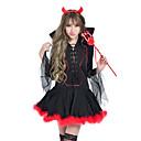 halpa Aikuisten asut-Enkeli ja paholainen Cosplay-Asut Aikuisten Nainen Cosplay Halloween Halloween Karnevaali Masquerade Festivaali / loma Puuvilla Punainen+musta Nainen Karnevaalipuvut Yhtenäinen
