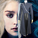 abordables Déguisements Thème Film & TV-Game of Thrones Mère des Dragons Daenerys Targaryen Robes Manteau Costume de Cosplay Femme Cosplay de Film Cosplay Halloween Noir Manteau Robe Châle Halloween Carnaval Mascarade Polyester