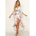 baratos Adesivos de Parede-Mulheres Temática Asiática Elegante Bainha balanço Vestido - Fenda Estampado Com Cordão, Floral Longo