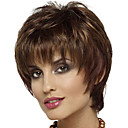cheap Synthetic Capless Wigs-Synthetic Wig / Bangs Curly Style Free Part Capless Wig Brown Brown / Burgundy Synthetic Hair 12 inch Women's Fashionable Design / Women / Synthetic Brown Wig Short Natural Wigs