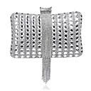 billige Clutch- og aftentasker-Dame Krystaldetaljering / Kæde polyester Aftentaske Rhinestone Crystal Evening Bags Stribet Sort / Sølv / Marineblå / Efterår vinter