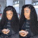 abordables Perruques Synthétiques Dentelle-Perruque Lace Front Synthétique Afro Kinky / Ondulation Style Coupe Dégradée Lace Frontale Perruque Noir Noir Cheveux Synthétiques 24 pouce Femme Homme Noir Perruque Long Sylvia 130% Densité de
