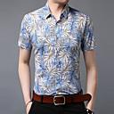 billige Herreskjorter-Herre - Blomstret Bomuld, Trykt mønster Skjorte Blå XL