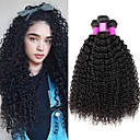 cheap Human Hair Weaves-3 Bundles Brazilian Hair Kinky Curly Remy Human Hair Natural Color Hair Weaves / Hair Bulk Bundle Hair Human Hair Extensions 8-28 inch Natural Color Human Hair Weaves Best Quality New Arrival Hot Sale