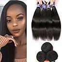 halpa Aitohiusperuukit-6 pakettia Brasilialainen Suora Käsittelemätön aitoa hiusta 100% Remy Hair Weave -paketit Headpiece Hiukset kutoo Bundle Hair 8-28 inch Luonnollinen Hiukset kutoo Helppo Carry Naisten Luonnollinen