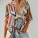 preiswerte Kappenlos-Damen Geometrisch Bluse Regenbogen L