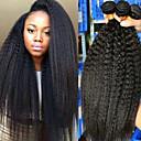 halpa Aitohiusperuukit-4 pakettia Brasilialainen Kinky Straight 100% Remy Hair Weave -paketit Hiukset kutoo Bundle Hair Aitohiuspidennykset 8-28 inch Luonnollinen väri Hiukset kutoo Vastasyntynyt Pehmeä Paras laatu Hiukset